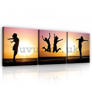 Painting on canvas: Happy - set 3pcs 25x25cm
