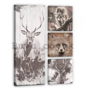 Painting on canvas: Animals in the forest - set 1pc 80x30 cm and 3pc 25,8x24,8 cm
