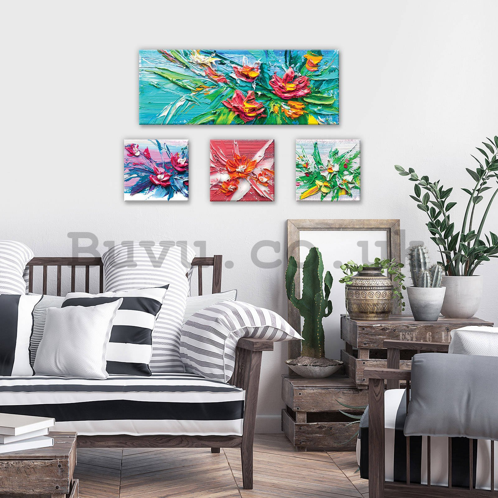 Painting on canvas: Painted flowers - set 1pc 80x30 cm and 3pc 25,8x24,8 cm