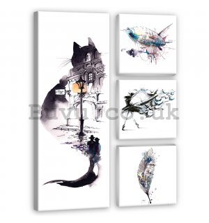 Painting on canvas: Black and white cat - set 1pc 80x30 cm and 3pc 25,8x24,8 cm