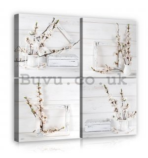 Painting on canvas: Cherry twigs - set 4pcs 25x25cm