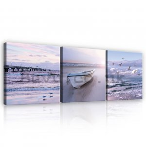 Painting on canvas: Coast - set 3pcs 25x25cm