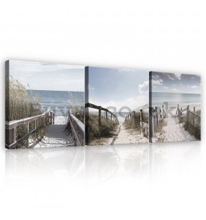 Painting on canvas: Road to the sea - set 3pcs 25x25cm