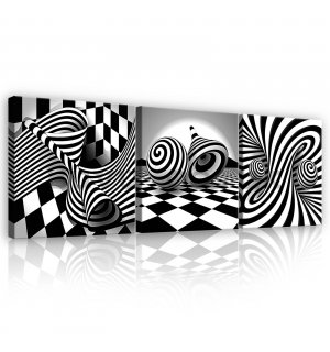 Painting on canvas: 3D black and white spirals and cubes - set 3pcs 25x25cm