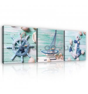Painting on canvas: Navy - set 3pcs 25x25cm