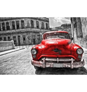 Wall Mural: American veteran car (red) - 254x368 cm