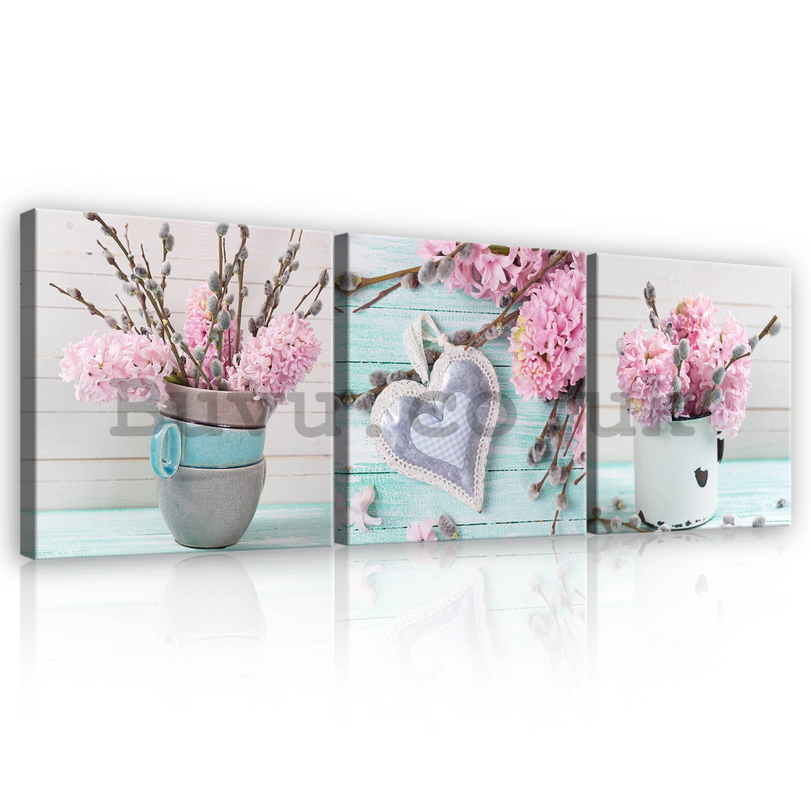 Painting on canvas: Still life with hyacinths - set 3pcs 25x25cm