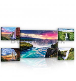 Painting on canvas: Waterfalls at sunrise - set 1pc 70x50 cm and 4pc 32,4x22,8 cm