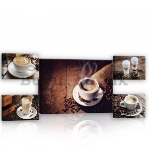 Painting on canvas: Coffee break - set 1pc 70x50 cm and 4pc 32,4x22,8 cm