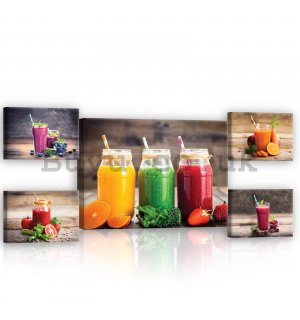 Painting on canvas: Smoothie (2) - set 1pc 70x50 cm and 4pc 32,4x22,8 cm