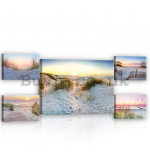 Painting on canvas: Sand dunes - set 1pc 70x50 cm and 4pc 32,4x22,8 cm