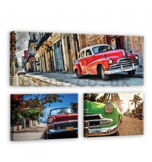 Painting on canvas: Havana cars - set 1pcs 80x30 cm and 2pcs 37,5x24,8 cm