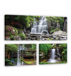 Painting on canvas: Waterfalls - set 1pc 80x30 cm and 2pc 37,5x24,8 cm