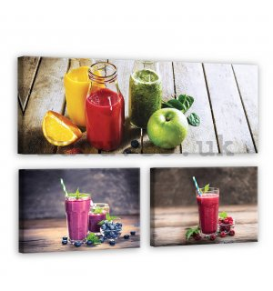 Painting on canvas: Fruit smoothie - set 1pc 80x30 cm and 2pc 37,5x24,8 cm
