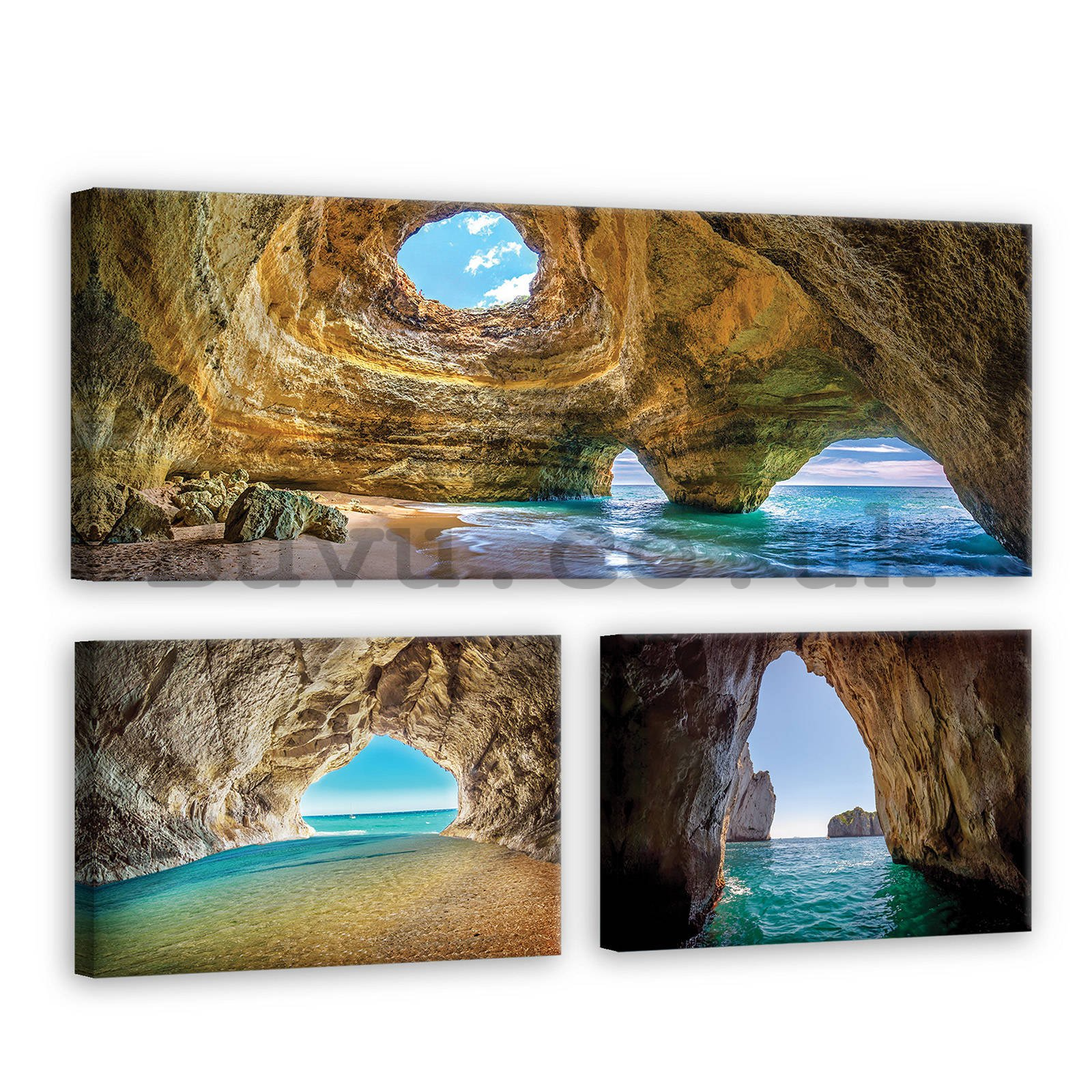 Painting on canvas: Sea cave - set 1pc 80x30 cm and 2pc 37,5x24,8 cm