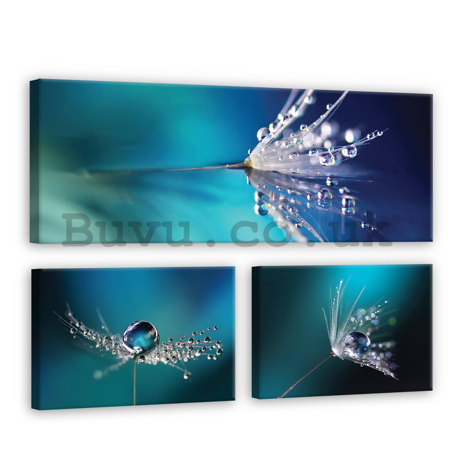 Painting on canvas: Dandelion in blue - set 1pc 80x30 cm and 2pcs 37,5x24,8 cm