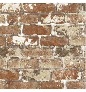 Vinyl wallpaper brick with shades of brown