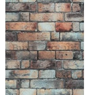 Vinyl wallpaper brick wall solid red-black