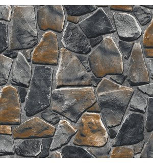 Vinyl wallpaper stone wall mix color