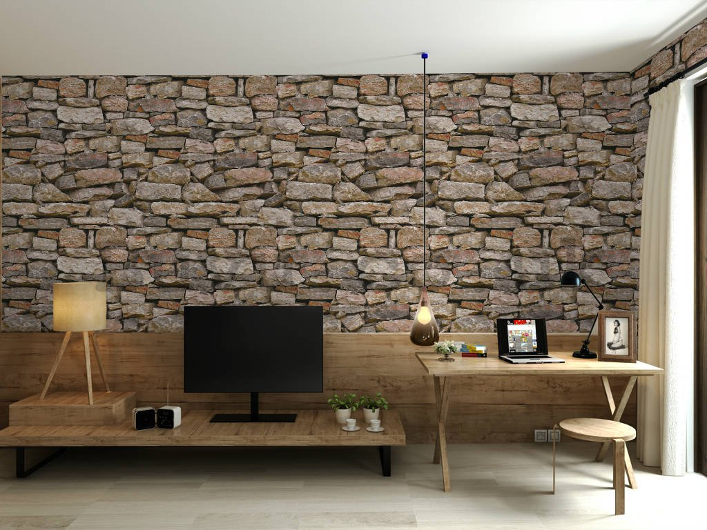 Vinyl wallpaper stone lining brown