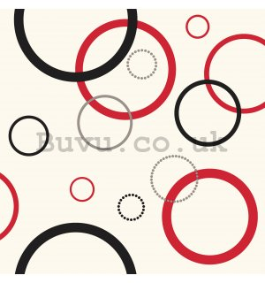 Vinyl wallpaper large red-black circles