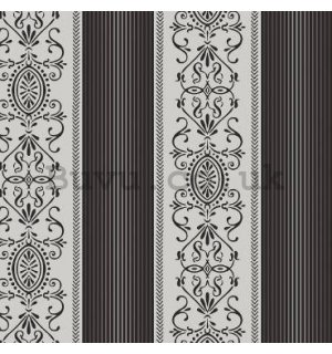 Vinyl wallpaper castle ornaments in black stripes