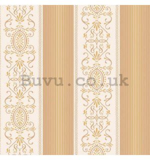 Vinyl wallpaper castle ornaments in brown stripes