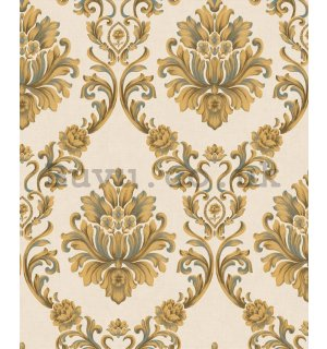 Vinyl wallpaper castle ornaments gold on a beige background