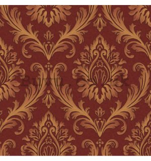 Vinyl wallpaper golden ornament on red background