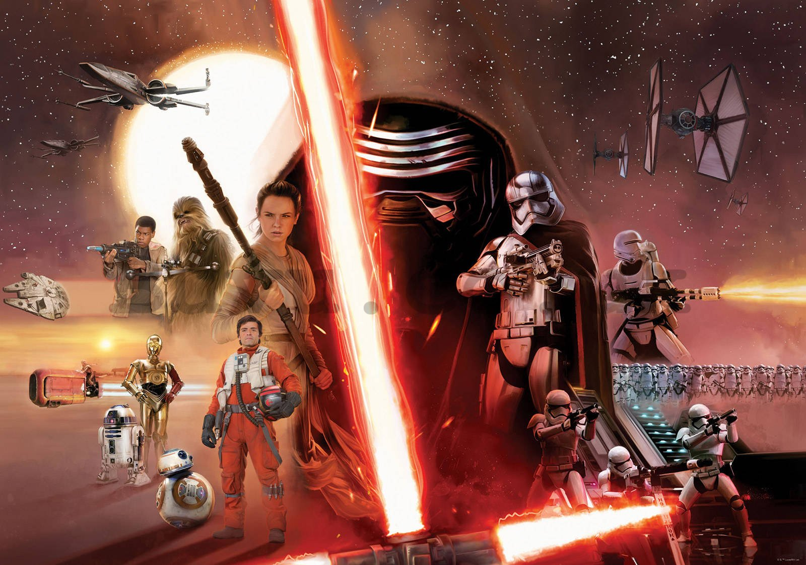 Vlies wall mural: Star Wars The Force Awakens (1) - 416x254cm
