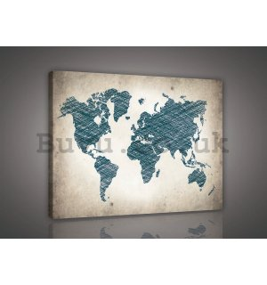 Painting on canvas: Painted World Map (1) - 75x100 cm