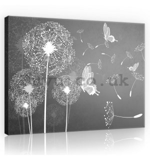 Painting on canvas: Dandelions and butterflies - 75x100 cm