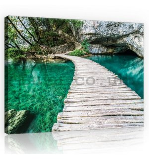 Painting on canvas: Wooden footbridge - 75x100 cm