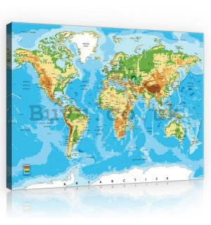 Painting on canvas: World Map (3) - 75x100 cm