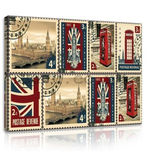 Painting on canvas: Postage Stamps United Kingdom - 75x100 cm