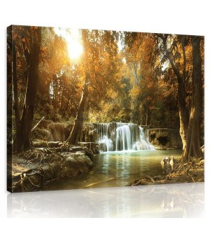 Painting on canvas: Waterfalls in the Woods (1) - 75x100 cm