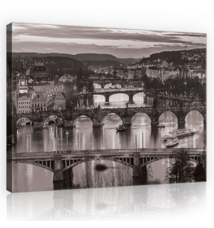 Painting on canvas: Prague (black and white) - 75x100 cm