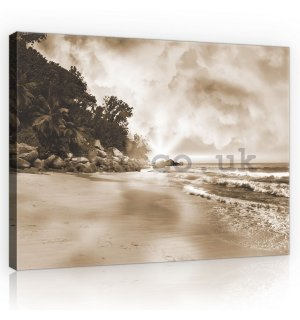 Painting on canvas: Paradise on the Beach (sepia) - 75x100 cm
