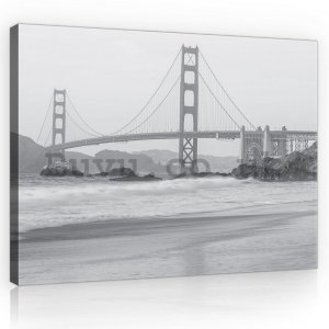 Painting on canvas: Golden Gate Bridge (black and white) - 75x100 cm