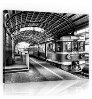 Painting on canvas: Old subway (black and white) - 75x100 cm