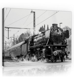 Painting on canvas: Steam locomotive (black and white) - 75x100 cm