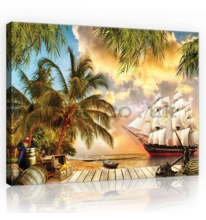 Painting on canvas: Sailboat in paradise - 75x100 cm