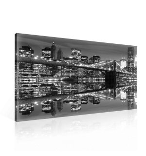 Painting on canvas: Black and White Brooklyn Bridge (3) - 75x100 cm