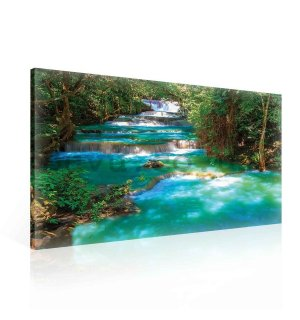 Painting on canvas: Green cascade - 75x100 cm
