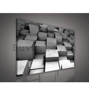 Painting on canvas: Gray cubes - 75x100 cm