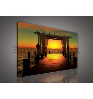 Painting on canvas: Pier (Sunset) - 75x100 cm