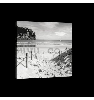 Painting on canvas: Sandy beach (black and white) - 75x100 cm