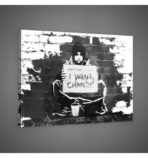 Painting on canvas: I Want Change (graffiti) - 75x100 cm