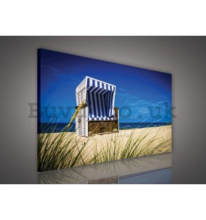 Painting on canvas: Chaise longue on the Beach - 75x100 cm