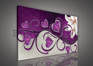 Painting on canvas: Hearts and Lily (purple) - 75x100 cm